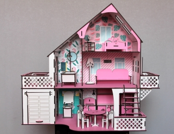 Кукольный домик с гаражом для LOL, 3 этажа, 50 х 50 х 20 см