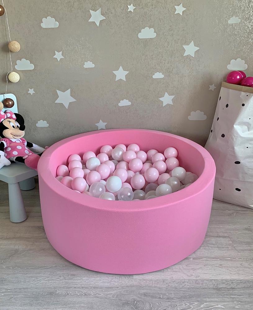 Розовый сухой бассейн с шариками: розовый, белый, прозрачный, перламутровый