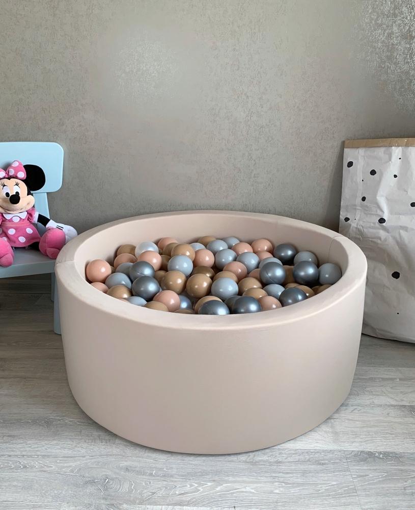 Бежевый сухой бассейн с шариками: бежевый, бежевый, золотой, серый, серебряный, перламутровый