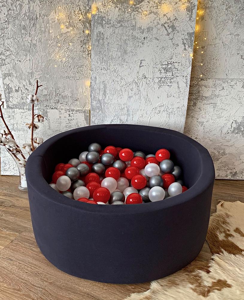 Темно-серый сухой бассейн с шариками:  красный, серый, перламутровый