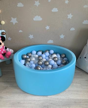 Голубой детский сухой бассейн с шариками