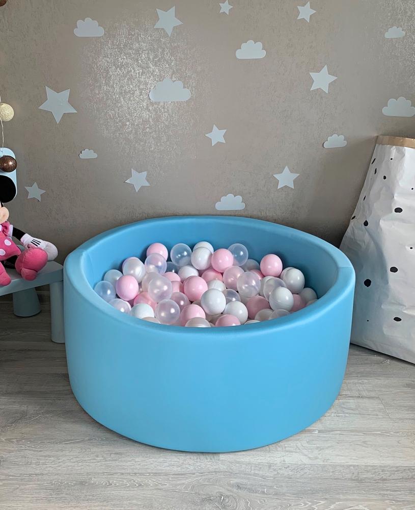 Голубой детский сухой бассейн с шариками: белый, прозрачный, перламутровый, розовый
