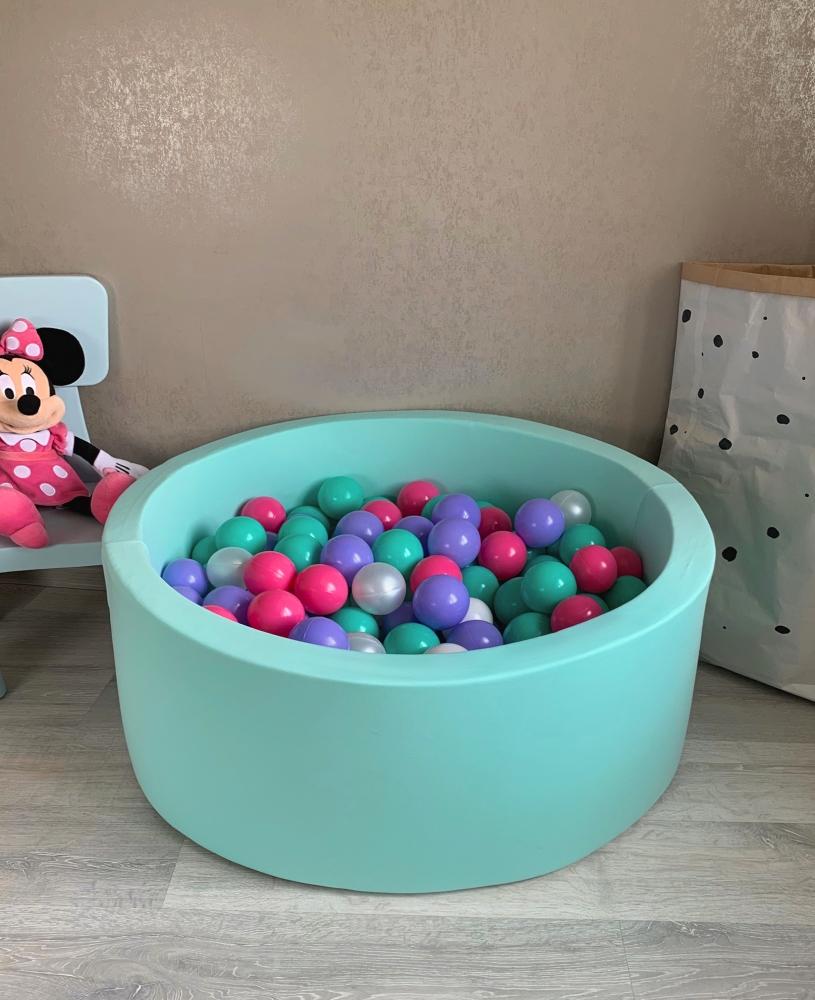 Мятный сухой бассейн с шариками: белый, мятный, перламутровый, лиловый, ярко-розовый