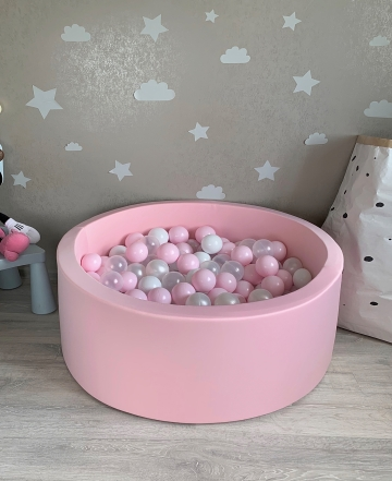 Нежно розовый детский сухой бассейн с шариками( белый, прозрачный, перламутровый, розовый)