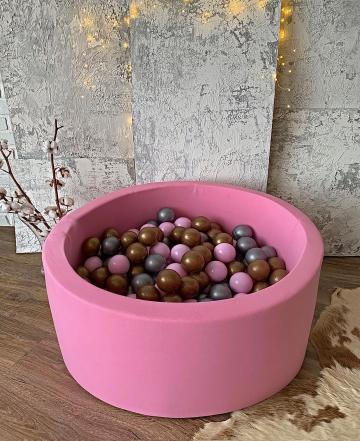 Розовый детский сухой бассейн с шариками