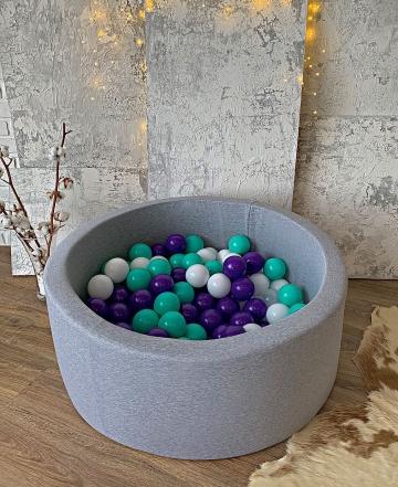 Серый детский сухой бассейн с шариками