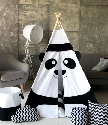 "Вигвам ""Белая панда"" с ковриком бомбон(пухлый)"